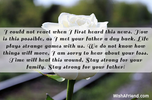 I could not react when I, Sympathy Message For Loss Of Father