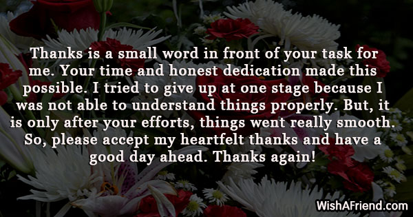 Thanks is a small word in, Thank You Letters