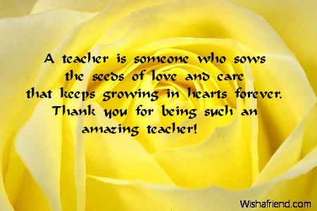 Thank You Notes For Teacher