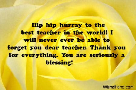 Hip hip hurray to the, Thank You Notes For Teacher