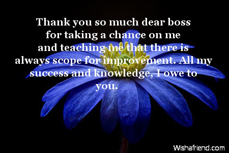 Thank you so much dear boss, Thank You Notes For Boss