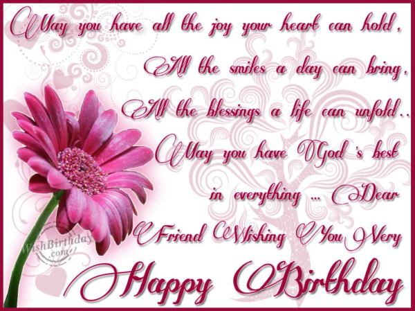 Dear Friend Wishing You A Very Happy Birthday. 1024 x 768.Birthday Wishes Thank You Messages To Friends
