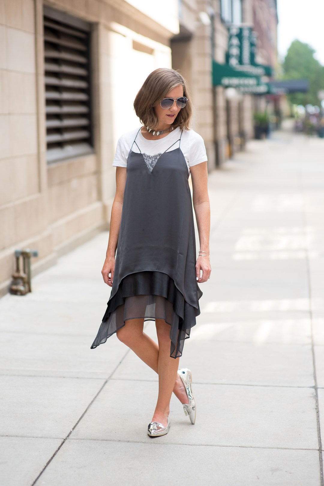 hm-grey-layered-slip-dress-with-lace-inset-slipdress-with -tee-shirt-trend-uncommon-goods-hammered-cuff-pointed-silver-tassel-loafers