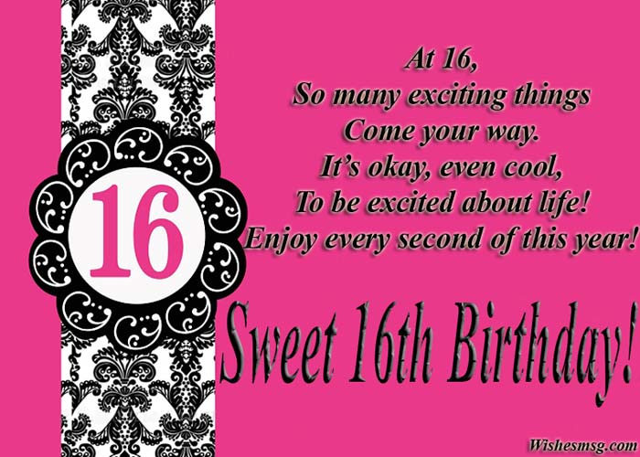 16th Birthday Wishes Messages For Sweet Sixteen Wishesmsg