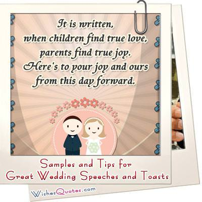 Tips and Samples of Great Wedding Speeches and Toasts - Wedding Speech Example