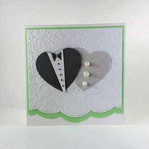 From swirling embossing to sparkling buttons, the details on this card are beautiful. The card can be purchased in a variety of colours. As with the majority of our occasion cards this card is blank on the inside for you to write your own message and will be shipped with an envelope.