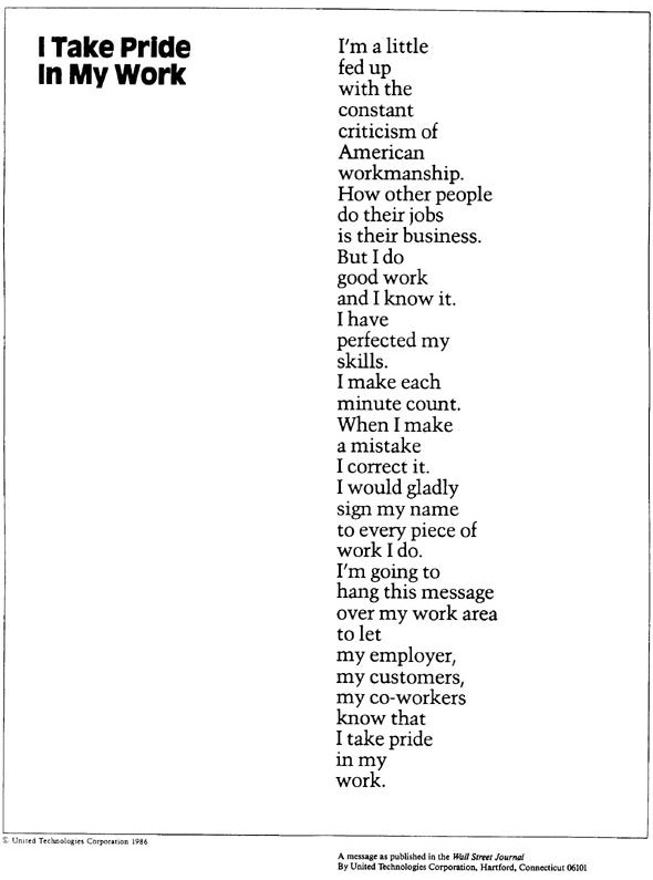Barry Wishner - Management Poem, I Take Pride In My Work - Work Articles