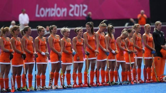 during the Women's Pool WA Match W02 between the Netherlands and Belgium at the Hockey Centre on July 29, 2012 in London, England.