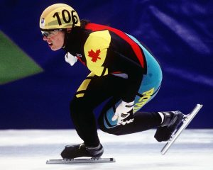 Isabelle Charest competes in the short track speed skating event at the 1994 Lillehammer Winter Olympics.