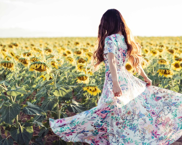 Maxi Dress in Sunflower Field