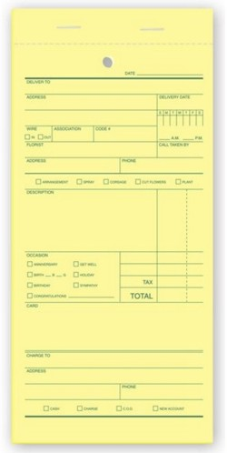 Witko Florist Sales Order Form, Printing, Checks, Labels and Office - sales order form