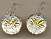 Gold on Silver Canada 1 Cent Maple Leaf Earrings