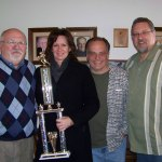 Ted Hayes, Kristen Miller, Tom Berg and Lenny Dessauer celebrate Miller's win in the contest!