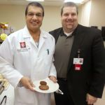 Dr.  Mangalore Subba Rao and IU Health Starke Hospital President Craig Felty