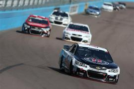 Kevin Harvick, driver of the #4 Jimmy John's Chevrolet, leads a pack of cars during the NASCAR Sprint Cup Series The Profit On CNBC 500 at Phoenix International Raceway on March 2, 2014 in Avondale, Arizona. Photo by Todd Warshaw/NASCAR via Getty Images