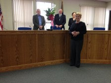 Commissioners Jack Roose, Kevin Overmyer and Deb Griewank with Penny Lukenbill