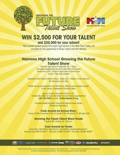 NHS Talent Show Flyer WNRV The Ridge AM 990/FM 973