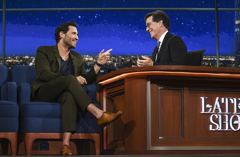The Late Show with Stephen Colbert. Guest Actor Edgar Ramirez on the Wednesday August 24th taping in New York. Photo: Michele Crowe/CBS ©2016CBS Broadcasting Inc. All Rights Reserved
