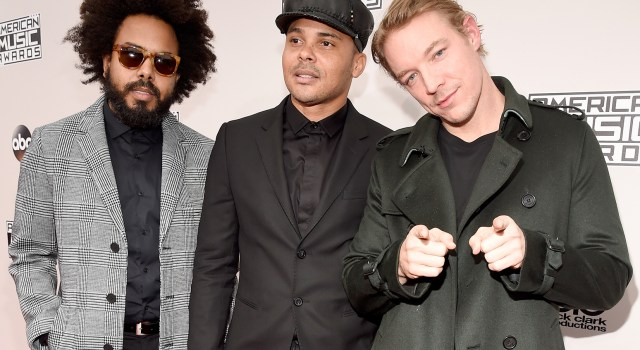 LOS ANGELES, CA - NOVEMBER 20:  (L-R) Jillionaire, Walshy Fire and Diplo of musical group Major Lazer attend the 2016 American Music Awards at Microsoft Theater on November 20, 2016 in Los Angeles, California.  (Photo by Kevin Mazur/AMA2016/WireImage)