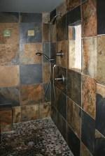 Pebble Shower Floor With Slate Tile