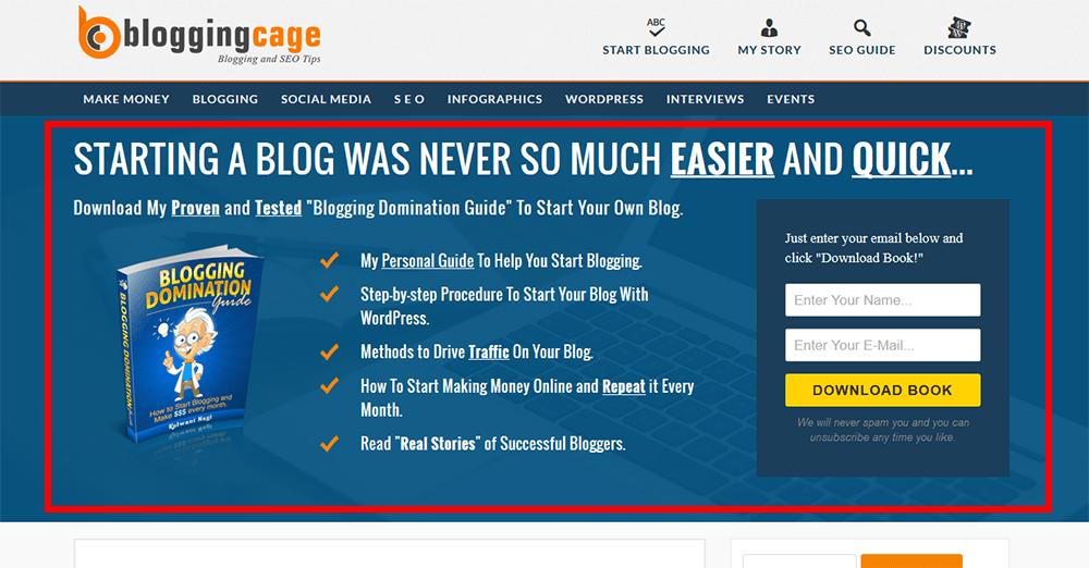 Blogging Cage Optin Feature Box