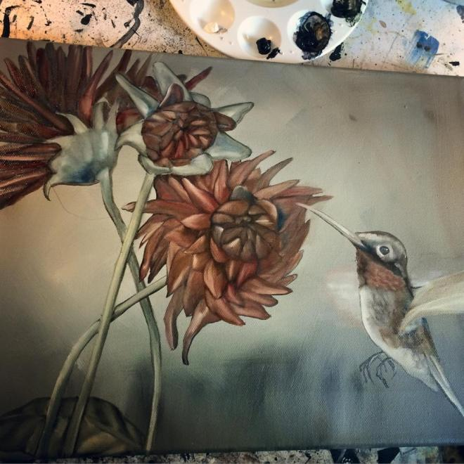 Work in progress: dahlias and hummingbird oil painting