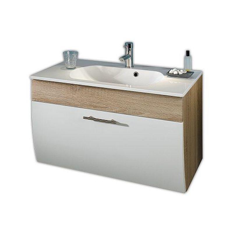 Waschtisch Waschplatz m Mineralgussbecken und Klappe, 90 cm breit Ba - badezimmer 90 cm