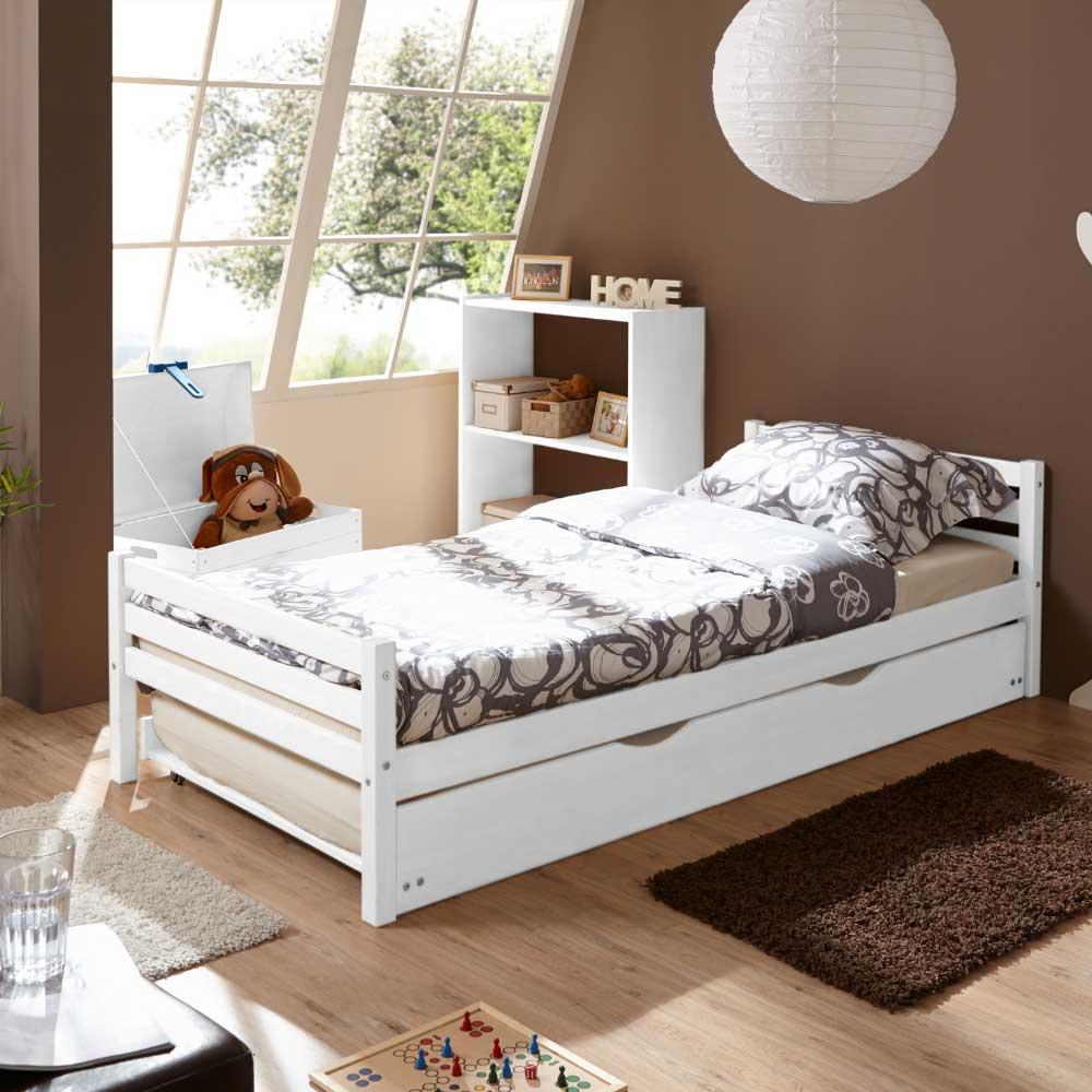 Schlafzimmer Kiefer Massiv  Bett Sumatra F252;r Das Kinderzimmer In Wei223; Aus Kiefer Massiv