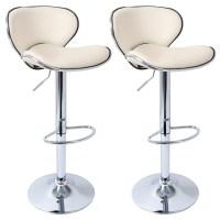 2 x Bar Stools Kitchen Chair Swivel Breakfast Stool Chrome ...