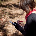 RESEARCH Recording data on  the effects of catastrophic fire on  wildife PHOTO BY AARON BATES