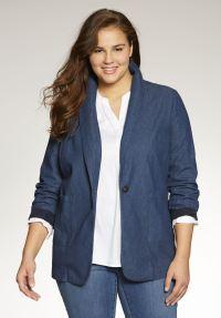Shawl-collar denim blazer | Plus Size Jackets & Blazers ...