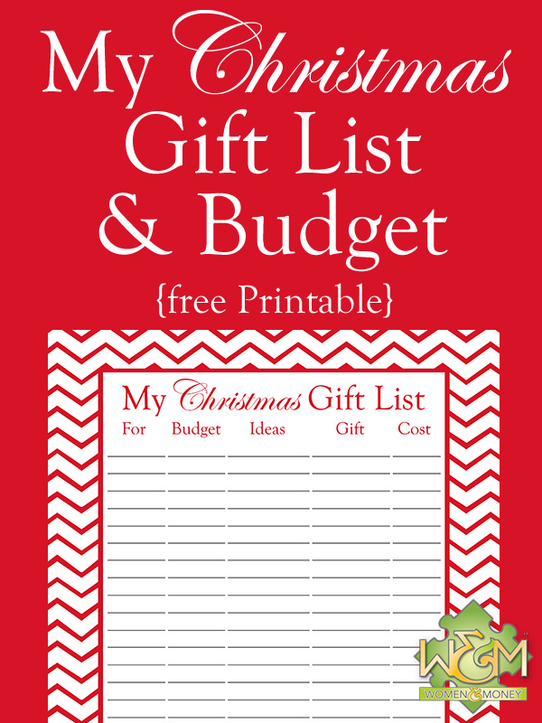 Christmas Gift List and Budget Printable - Women and Money Inc - help me budget my money for free