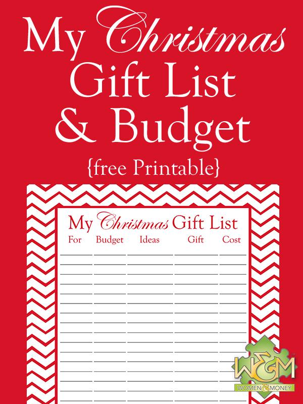 Christmas Gift List and Budget Printable - Women and Money Inc