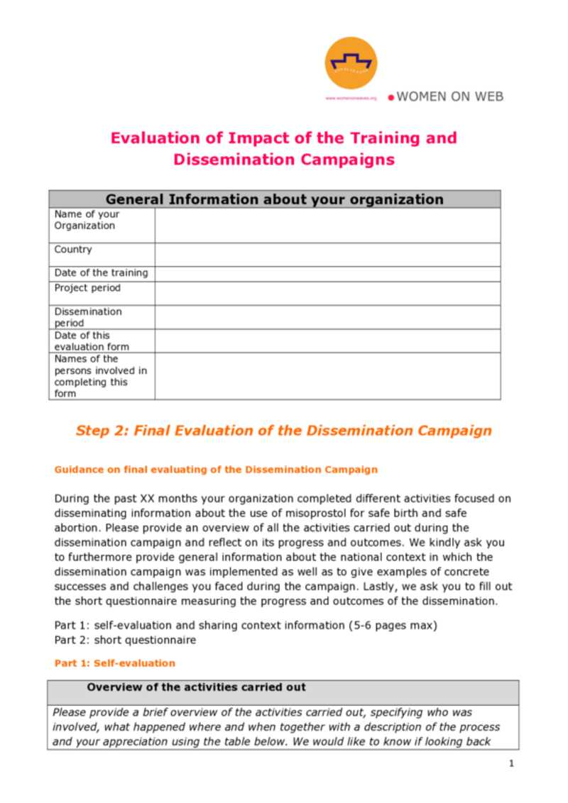 Training Evaluation Toolkit Business Performance Pty Ltd Final Evaluation Form — Women On Waves