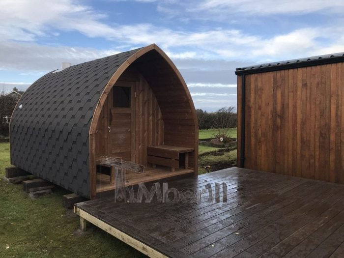 Outdoor Sauna Iglu Wood Fired Hot Tub With Integrated