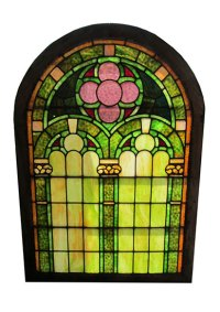 Arched Top Stained Glass Window - Wooden Nickel Antiques