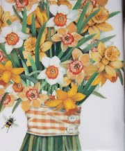 kitchen towel daffodil bouquet