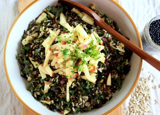 wild rice kale lentil salad