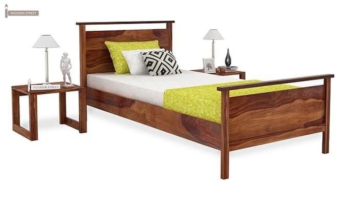 Buy Denzil Single Bed Teak Finish Online In India