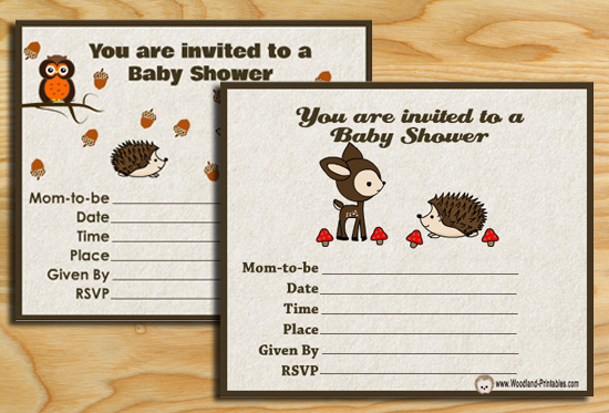 Free Printable Woodland Baby Shower Party Invitations