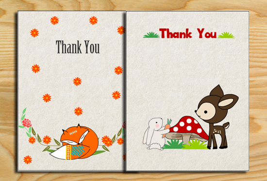 Free Printable Woodland Baby Shower Thank You Cards - free thank you cards
