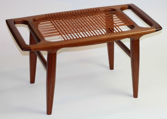 """I built this bench of walnut, planed on my Woodmaster. I based it on a design by woodworking legend, Sam Maloof,"" says Paul. ""This piece demonstrates that you can make 'non-boxy' furniture with a Woodmaster."""