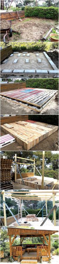 DIY Wood Pallet Garden Gazebo Deck with Furniture   Wood ...
