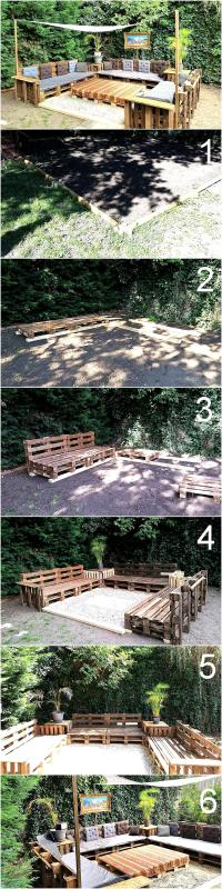 DIY Wooden Pallets Patio Furniture Terrace | Wood Pallet ...