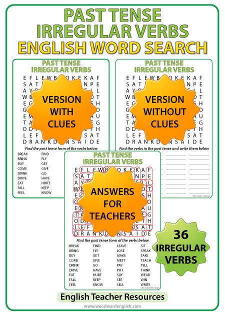 Past Tense Irregular Verbs \u2013 Word Search Woodward English