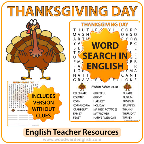 Thanksgiving Day Word Search in English Woodward English