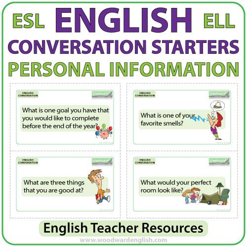 English Conversation Starters \u2013 Personal Information Woodward English