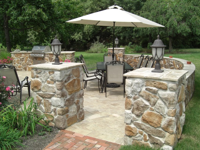 Natural Stone Pillar Caps Hardscaping Bucks County Pa