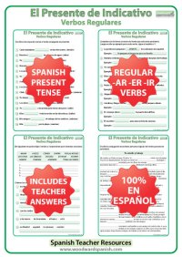 Spanish Present Tense BUNDLE  Regular Verbs Conjugation ...