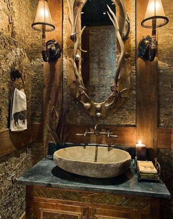30 Inspiring Rustic Bathroom Ideas for Cozy Home - Amazing DIY - rustic bathroom lighting ideas